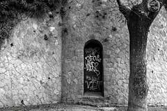 Millor no passar.....Mejor no pasar. (AviAntonio) Tags: mur arbre porta virat muro árbol puerta editada