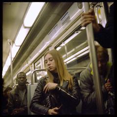 30 ~ Metro Girl (LANCEPHOTO) Tags: paris france parismetro streetphotography people robotcamera robotstar25 berningrobot 24x24 squareformat 35mmfilm color c41 solutionsvx200 film4life filmphotography