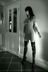 New black boots (ArcanePath360) Tags: black boots thigh length figure hugging dress high heels portrait