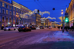 Christmas. Nevsky Avenue. (fedoseenko) Tags: санктпетербург россия красота colour beauty blissful loveliness beautiful saintpetersburg art dazzling light russia peace небо color sky pretty view heaven mood serene colours picture architecture building history outdoors night ночь snow frost freeze frosty снег field holy walkway winter blue ef1635f28lii evening landscape архитектура вечер здание christmas people 5dmarkii