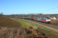 DB Cargo 186 495 en 186 493 met ketelwagens (Peter Gootzen) Tags: db dbcargo dbc 186 br186 traxx bombardier 186495 186493 wonck 47061 ketelwagens kesselwagen