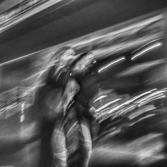 GoingWithTheFlowBW (W Scott - Evicted from G+) Tags: bw abstract blur night people street