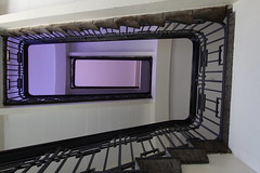 Pretty in pink (Elbmaedchen) Tags: staircase stairwell stairs stufen lines pink treppenhaus treppe allee gymnasium altona interior upanddownstairs roundandround