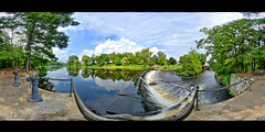 Charles River Dam, South Natick - 360 Panorama (Brooks Payne) Tags: brooks brooksbos landscape river charlesriver dam water falls 360 panorama panoramic natick massachusetts newengland clouds sky trees woods scenic nature