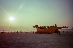 Mutant Vehicle in La Playa (hiphopmilk) Tags: copyright©jaredyehwooehmoehfilms konica offroad 現場監督 zoom 35mm 135film film analog analogue jaredyeh hiphopmilk kodak travel us usa blackrockcity nevada burningman desert playa mutant vehicle sun sunlight sunshine sunset