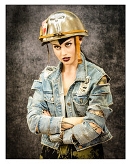 Military attitude (Photography And All That) Tags: military attitude girl portrait girls portraits model models helmet denim thephotographyshow2019 thephotographyshow 2019 expression expressions expressive whitephotoborder sony sonyalpha7mark3 sonyalpha sonyilce7m3 direct gaze tattoo jacket ripped playing cards bullets face