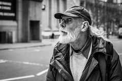 Side of the Eye (Leanne Boulton) Tags: urban street candid portrait portraiture streetphotography candidstreetphotography candidportrait streetportrait eyecontact candideyecontact sideeye streetlife old man male face eyes expression mood emotion feeling beard cap tone texture detail depthoffield bokeh naturallight outdoor light shade city scene human life living humanity society culture lifestyle people canon canon5dmkiii 50mm primelens ef50mmf14usm black white blackwhite bw mono blackandwhite monochrome glasgow scotland uk