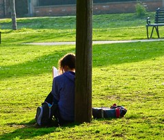 A Quiet Moment (nannyjean35) Tags: bag girl book grass tree hair seat dasies flowers