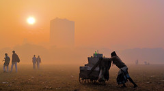 Kolkata Maidan on A Misty Morning (pallab seth) Tags: kolkata winter maidan mist misty morning sunrise city cityscape landscape artistic silhouette people horse riding equasy india romantic beautifulcity calcutta শীতেরসকাল brigadeparadeground