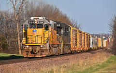 Westbound Auto Train in Kingsville, MO (Grant Goertzen) Tags: up union pacific railroad railway locomotive train trains west westbound auto manifest freight emd ge power missouri