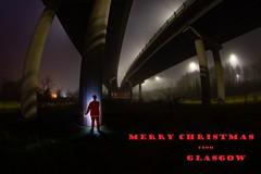 MERRY CHRISTMAS from GLASGOW #3[Explored- Thank You!] (john&mairi) Tags: merry christmas glasgow 2018 motorway m8 flyover interchange santa figure costume