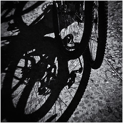 Lomography (Black and White Fine Art) Tags: lomography lomo diana dianaf toycamera camaradejuguete plasticcamera camaradeplastico sombra shadow kodakbw400cnexports2007 expiredfilm películaexpirada 2007 bicicleta bicycle sanjuan oldsanjuan viejosanjuan puertorico bn bw