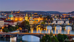 Prague blue hour view (AdelheidS Photography) Tags: adelheidsphotography adelheidsmitt adelheidspictures czechrepublic czechia czech prague praha capitalcity canoneos6d city cityscape cityview charlesbridge vltava river viewpoint bluehour evening citylights