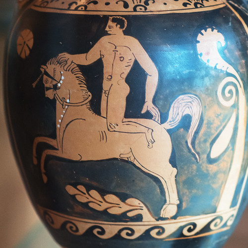 Lucanian Red Figure panathenaic amphora with a horseback acrobat(?) or trick rider, 2 (detail)