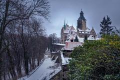 Gzocha castle (Kamil Gawlak) Tags: castle gzocha poland lower silesia overcast cloudy sky trees bush bushes wall snow winter
