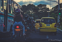 Night Riders (Sound Quality) Tags: wwwmichaelwashingtonaecom medellin medellincolombia colombia antioquia travel latinamerica americalatina southamerica ride rider riders motorcycle motorcycles taxi bus transit nightrider dawn travelphotography city yellow green