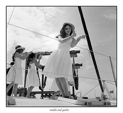 Models and Yacht (FimRay) Tags: blackandwhite bw mediumformat 120 rollei rolleiflex tlr 35f tessar model models yacht boat boats woman women female females girl girls people film
