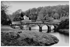 Stourhead lake and bridge scene (Andy J Newman) Tags: trust longexposure stourhead national nikon blackandwhite nationaltrust d810 warminster england unitedkingdom gb