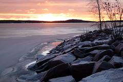 Winter morning (evisdotter) Tags: winter morning sunrise light colors landscape reflections ice snow rocks nature sooc sun sunny sky