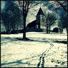 on the hill (luci_smid) Tags: landscape trees church way footpath snow winter monochrome