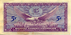 5 Five Cents Military Payment Certificate (donjuanmon) Tags: five 5 cent paper money military war vietnam 1960s