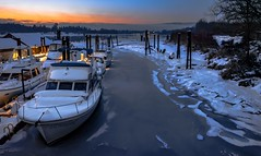 Nautical Deep Freeze (Christie : Colour & Light Collection) Tags: boats frozen harbour kanakalandingharbour ice snow bluehour mapleridge fraserriver bc nikon nikkor marina nautical britishcolumbia canada moored pier wharf dock yacht winter river
