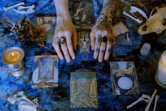 I Was Made to Love Magic (Gab Minks) Tags: tarot hands witch witchcraft bones crystals candles 35mm film