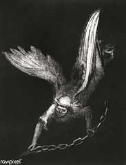 Artwork by Odilon Redon (Free Public Domain Illustrations by rawpixel) Tags: name angel art arts artwork blackandwhite bottomlesspit bw chain dark decor decoration down drawing french greatchain heaven illustration key lithograph odilonredon poster print punishment redon retro sin vintage