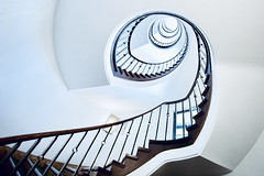 The blue one - upstairs (kuestenkind) Tags: treppe treppenhaus stairs staircase hamburg europe blau blue spirale