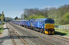 47813 47815 5L46 0835 Laira T & R S M D - Ely Mill Papworth Sidings off lease HST rolling stock at Cheltenham Down Goods Loop 11.04.2019 (2) (The Cwmbran Creature.) Tags: british rail train trains railway class47 class 47 brush locomotive services ltd limited lsl gloucestershire england barrier vihicles hst off lease