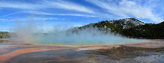 Yellowstone - Blue Smokin' Prismatic Spring (Drriss & Marrionn) Tags: travel wyoming usa yellowstonenationalpark nature waterflow rock landscape landscapes geyser geysers steam geology smoke colour water red grandprismatic blue forest tree mountain