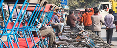 Rickshaw (B Hutchison) Tags: xt1 india newdelhi riskshaw bikes taxis lineup repetition blue colour watching waiting crowds