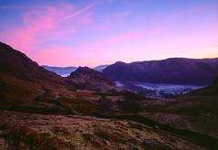 Sunrise on the Fells (Jonathan Woods Photography) Tags: ebony sv45te large format film nikon nikkor 90mm sw f45 fuji velvia 50 rvp50 lake district fell fells sunrise castle crag high dote pink sky mist valley landscape