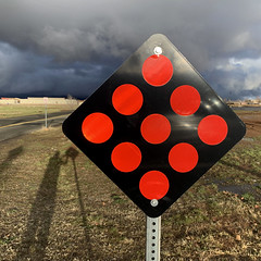 warning sign (Robert Couse-Baker) Tags: nine dice sign stop roadclosed red arizona clouds thunderstorm thinkingofyouericnordwall wesurvivorsdoenvythedeadbutistillmissyou 9