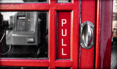 Pull. (CWhatPhotos) Tags: cwhatphotos camera photographs photograph pics pictures pic picture image images foto fotos photography artistic that have which contain flickr olympus omd em1 mk l mzuiko 17mm f18 prime lens durham north east england uk city centre pull door red phone box