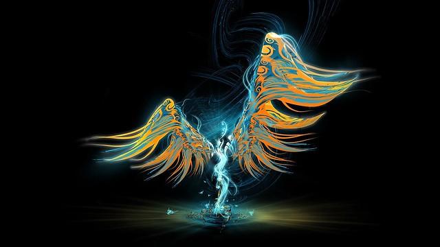 Обои ангел, крылья, свет, рисунок, узоры картинки на рабочий стол, фото скачать бесплатно