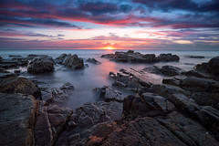 EVENTIDE (steve-wyper) Tags: sunrise sunset shore beach rock rocky rocks sea ocean water long exposure sky blur australia nsw new south wales shoreline beautiful calm