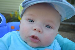 My little Man (AllieG1842) Tags: blue littleboy outside motherhood summer happy happiness hat man little expression babies