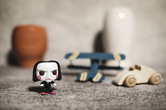 Trouble in River City ! (N.the.Kudzu) Tags: tabletop stilllife toys miniature funkopop wooden car blue biplane canoneosm 7artisans25mmf18 lightroom 2lilowls preset