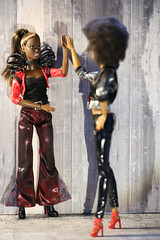 high five ! (photos4dreams) Tags: photos4dreams p4d photos4dreamz yoga barbie doll toy puppe madetomove dress mattel barbies girl play fashion fashionistas outfit kleider mode puppenstube tabletopphotography aa africanamerican darkskin diorama beauties beautiful girls women ladies damen weiblich female funky afroamerican afro schnitt hair haare afrolook canoneos5dmark3 hippie