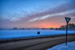 Cold Munich Morning (orkomedix) Tags: canon eosr rf24105f4l munich germany morning cold sunrise snow mist sign street sky outdoor winter