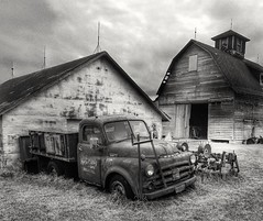 out of service...(HTT) (BillsExplorations) Tags: truckthursday oldtruck truck car rust old vintage abandonedillinois abandoned ruraldecay forgotten blackandwhite monochrome farm abandonedfarm country dodgetruck dodge outofservice