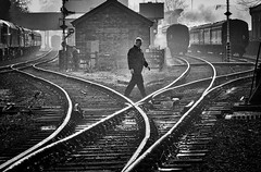 Great Central Railway Loughborough Leicestershire 24th February 2019 (loose_grip_99) Tags: greatcentral railway railroad rail train loughborough leicestershire eastmidlands england uk steam tracks blackwhite noiretblanc station gassteam uksteam trains railways contrejour contrajour february 2019 trackscape