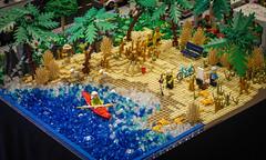 LEGO Beach (tim.perdue) Tags: lego think outside brick 2018 columbus museum art cma cmoa ohio exhibition gallery panasonic gx7 lumix 1232mm toy build minifig scene vignette diorama display beach ocean shore sand trees kayak palm