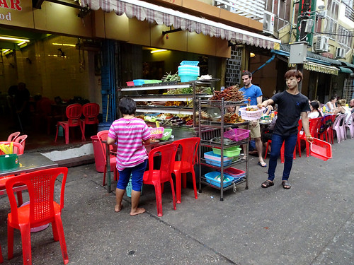 Tourist street restaurant in Yangon