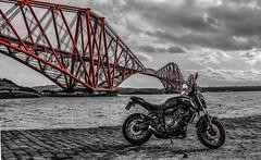 Dark side of the bridge (lewi1553) Tags: explore scene horizon clouds river tourism travel ride bike biker mood blackandwhite bnw coloursplash scotland forthrailbridge bridge mt07 yamaha motorcycle motorbike