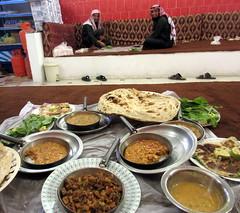 Two Dudes Yemeni Food (earthdrifting) Tags: people dudes guys locals restaurant food cuisine saudi yemeni murtabak shashuka eggs scrambled greens soup addas lentils grains