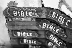Protected By Words (belleshaw) Tags: blackandwhite saltonsea salvationmountain truck painted bible grille metal oldpaint protection texture detail abstract words