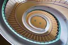 Green dots (Elbmaedchen) Tags: staircase stairwell treppenauge treppe escaleras escaliers interior architecture roundandround upanddownstairs steps spiral oval dots dresden universität merckelbau