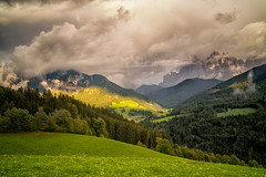 Funes Valley sunset (jmbillings) Tags: clouds dolomites dolomiti dramatic forest funes geisler italy meadow mountains odle sunset valley